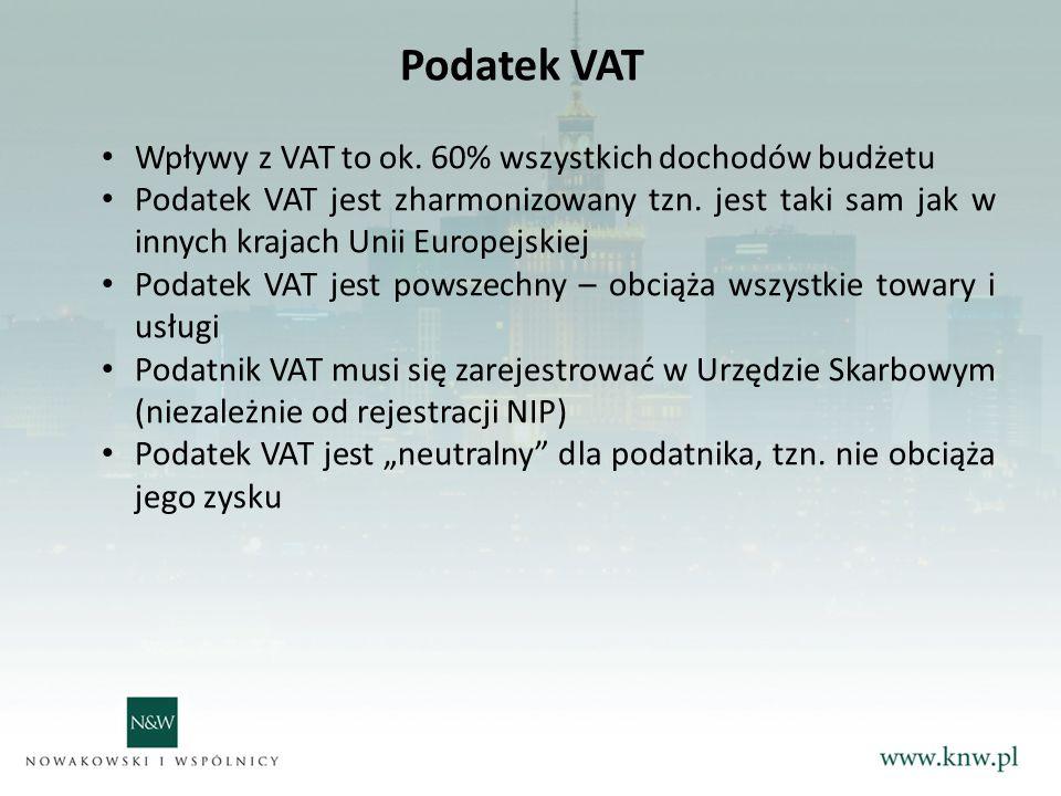 Podatek VAT Wpływy z VAT to ok. 60% wszystkich dochodów budżetu