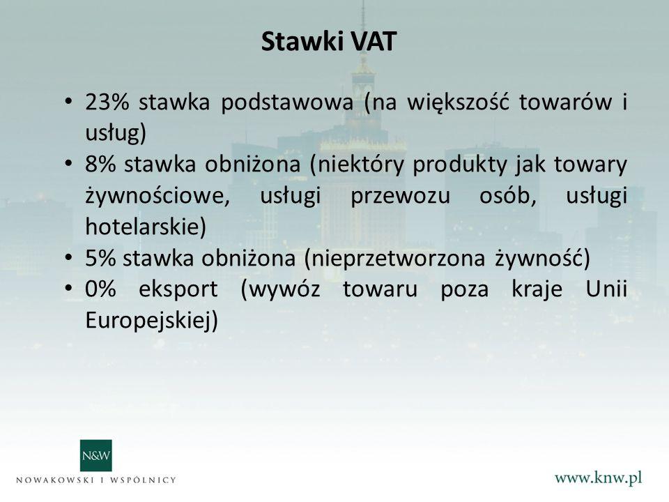 Stawki VAT 23% stawka podstawowa (na większość towarów i usług)