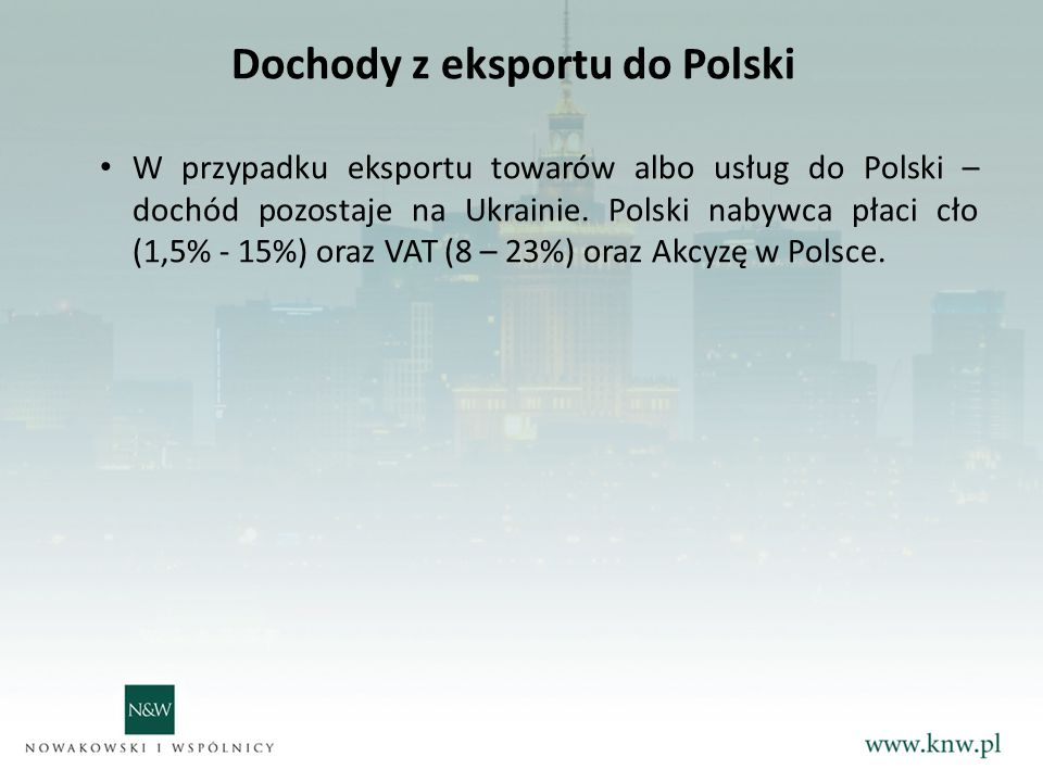 Dochody z eksportu do Polski