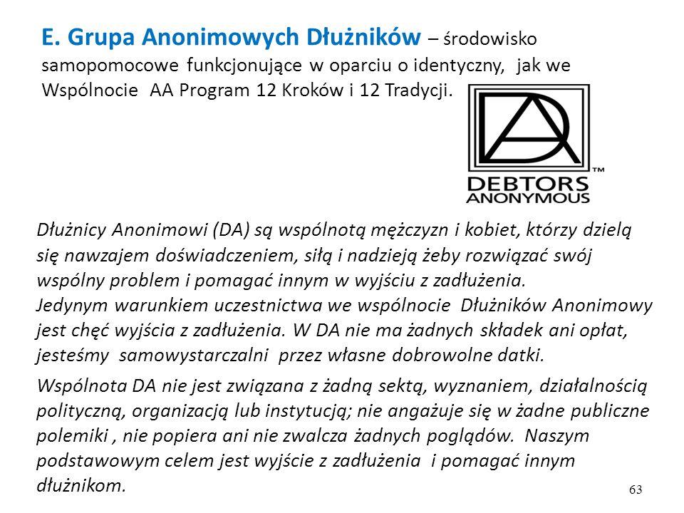 E. Grupa Anonimowych Dłużników – środowisko samopomocowe funkcjonujące w oparciu o identyczny, jak we Wspólnocie AA Program 12 Kroków i 12 Tradycji.