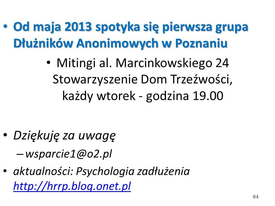 Od maja 2013 spotyka się pierwsza grupa Dłużników Anonimowych w Poznaniu