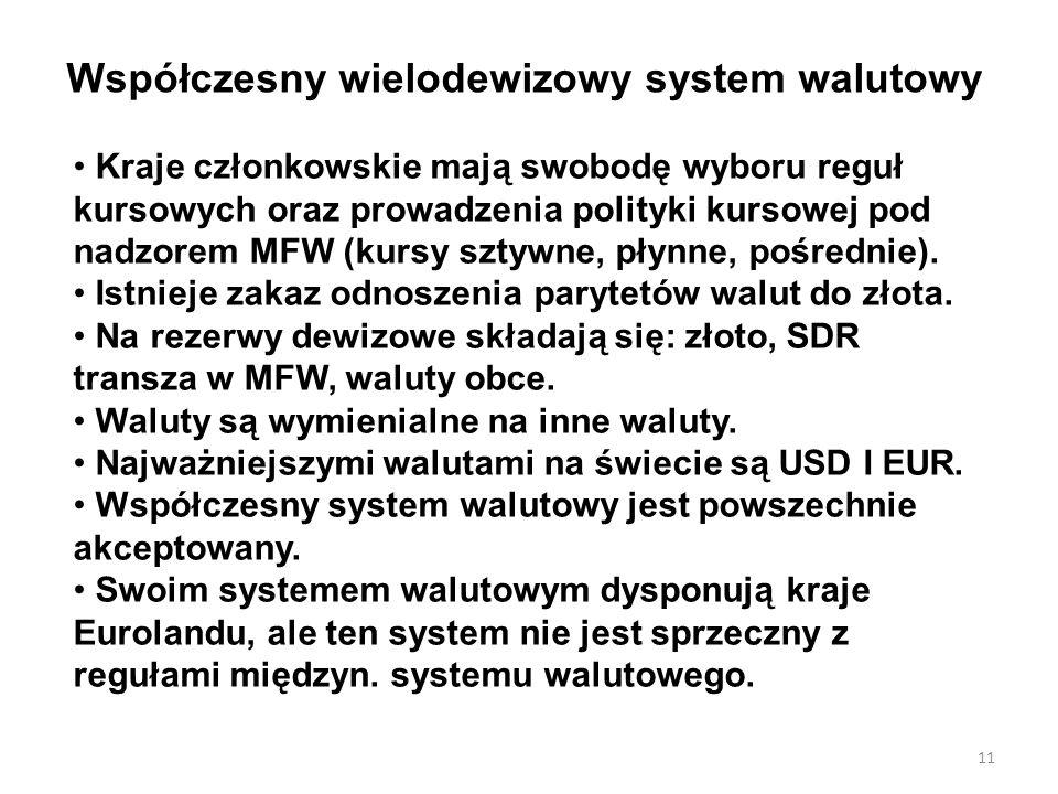 Współczesny wielodewizowy system walutowy