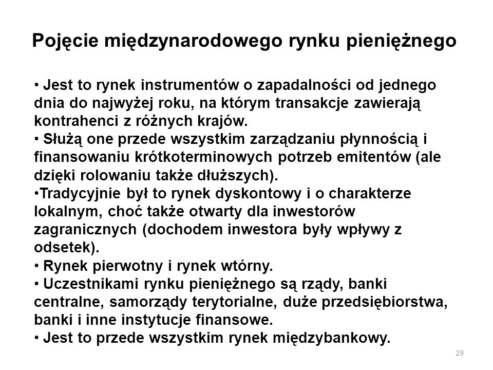 Pojęcie międzynarodowego rynku pieniężnego