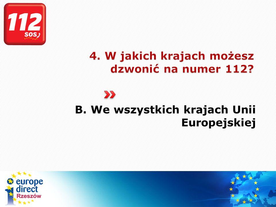 4. W jakich krajach możesz dzwonić na numer 112