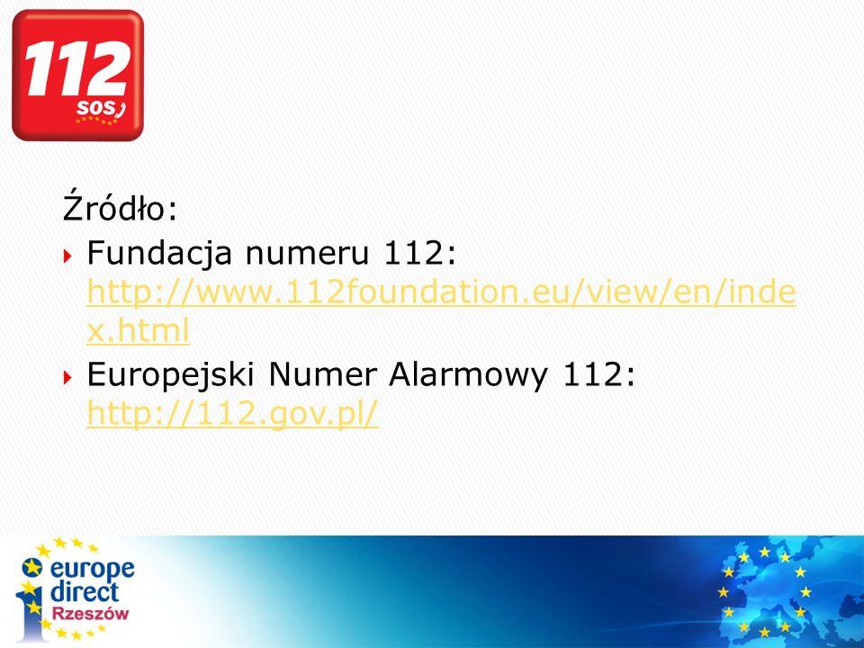 Źródło: Fundacja numeru 112: http://www.112foundation.eu/view/en/inde x.html.