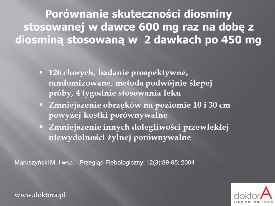 Porównanie skuteczności diosminy stosowanej w dawce 600 mg raz na dobę z diosminą stosowaną w 2 dawkach po 450 mg