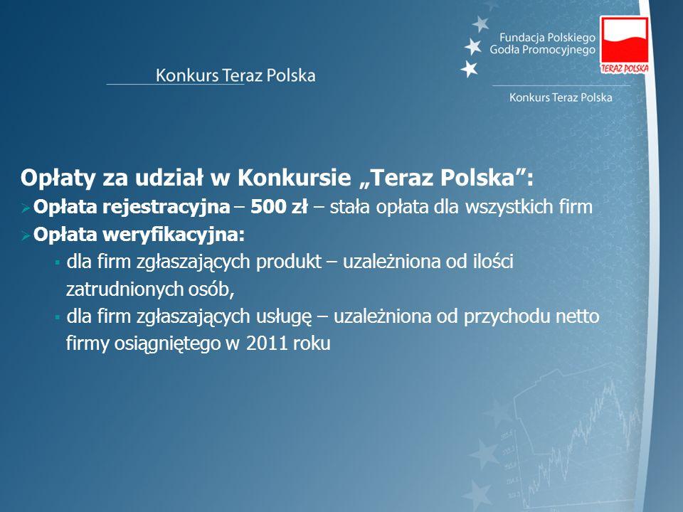 """Opłaty za udział w Konkursie """"Teraz Polska :"""