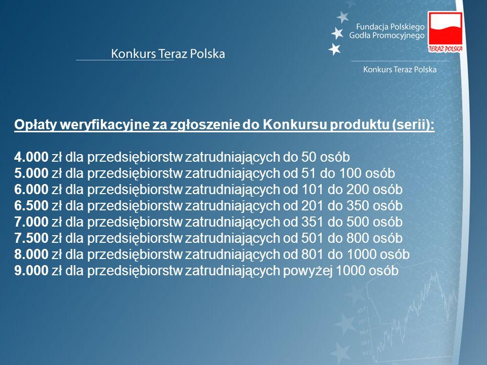 Opłaty weryfikacyjne za zgłoszenie do Konkursu produktu (serii):
