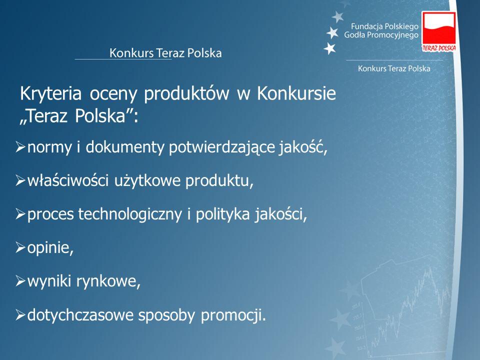 """Kryteria oceny produktów w Konkursie """"Teraz Polska :"""