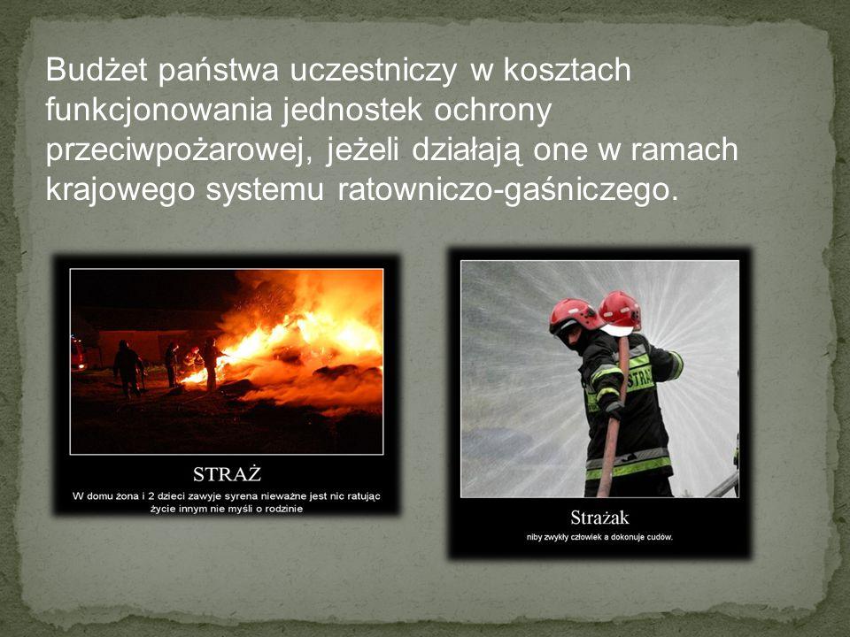 Budżet państwa uczestniczy w kosztach funkcjonowania jednostek ochrony przeciwpożarowej, jeżeli działają one w ramach krajowego systemu ratowniczo-gaśniczego.