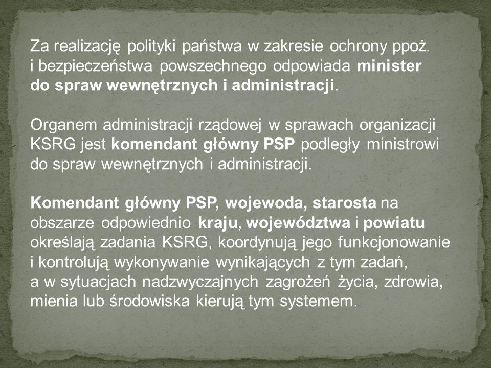 Za realizację polityki państwa w zakresie ochrony ppoż