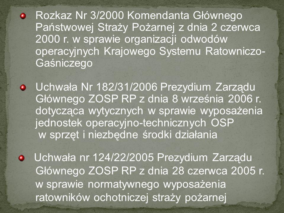 Rozkaz Nr 3/2000 Komendanta Głównego Państwowej Straży Pożarnej z dnia 2 czerwca 2000 r. w sprawie organizacji odwodów operacyjnych Krajowego Systemu Ratowniczo-Gaśniczego