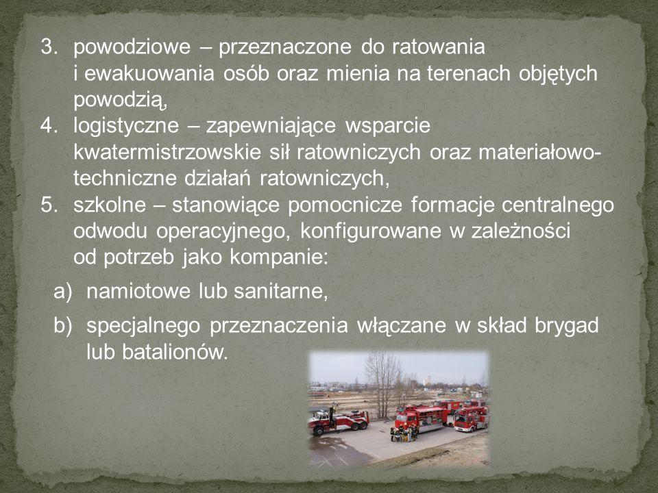 powodziowe – przeznaczone do ratowania i ewakuowania osób oraz mienia na terenach objętych powodzią,