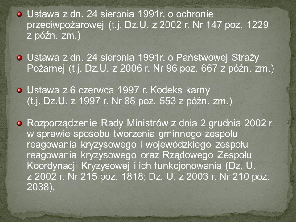 Ustawa z dn. 24 sierpnia 1991r. o ochronie przeciwpożarowej (t. j. Dz