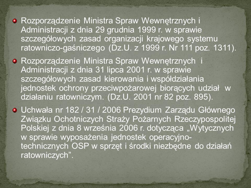 Rozporządzenie Ministra Spraw Wewnętrznych i Administracji z dnia 29 grudnia 1999 r. w sprawie szczegółowych zasad organizacji krajowego systemu ratowniczo-gaśniczego (Dz.U. z 1999 r. Nr 111 poz. 1311).