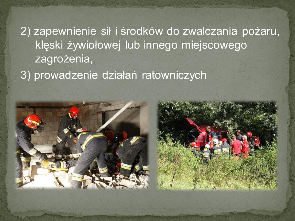 2) zapewnienie sił i środków do zwalczania pożaru, klęski żywiołowej lub innego miejscowego zagrożenia,