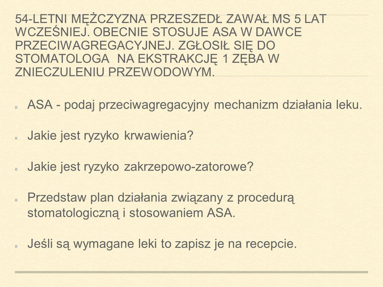 ASA - podaj przeciwagregacyjny mechanizm działania leku.