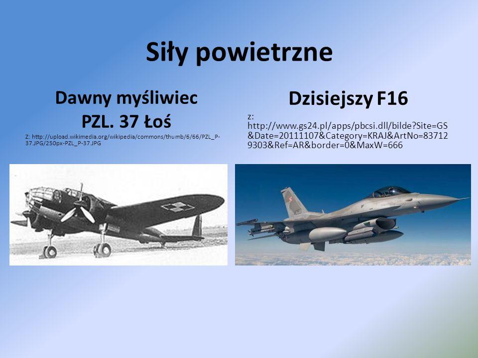 Siły powietrzne Dzisiejszy F16 Dawny myśliwiec PZL. 37 Łoś