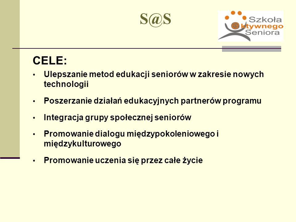 S@S CELE: Ulepszanie metod edukacji seniorów w zakresie nowych technologii. Poszerzanie działań edukacyjnych partnerów programu.