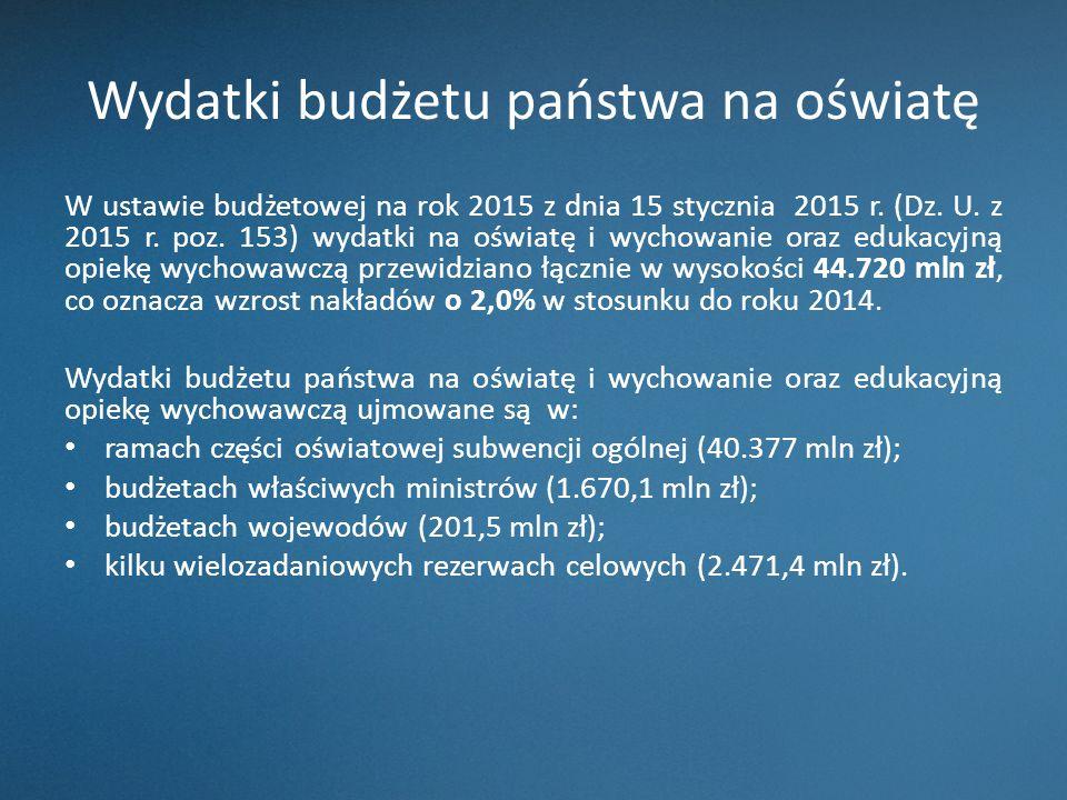Wydatki budżetu państwa na oświatę