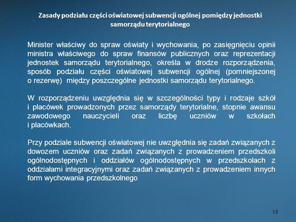 Zasady podziału części oświatowej subwencji ogólnej pomiędzy jednostki samorządu terytorialnego