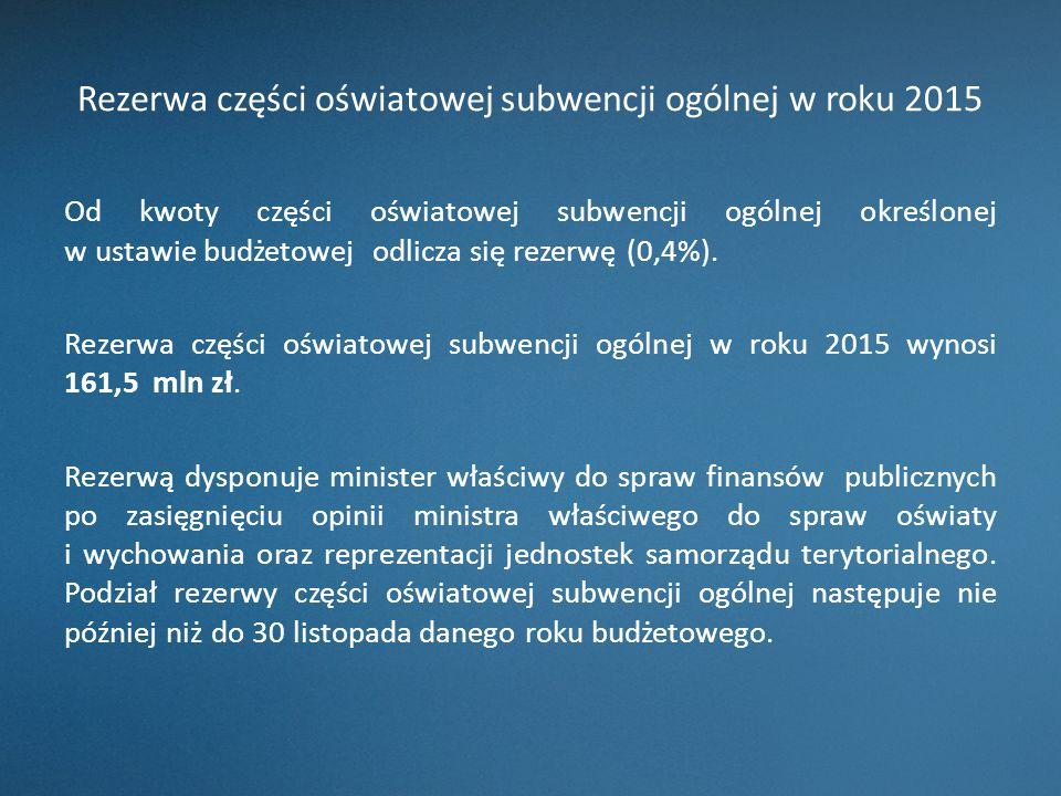Rezerwa części oświatowej subwencji ogólnej w roku 2015