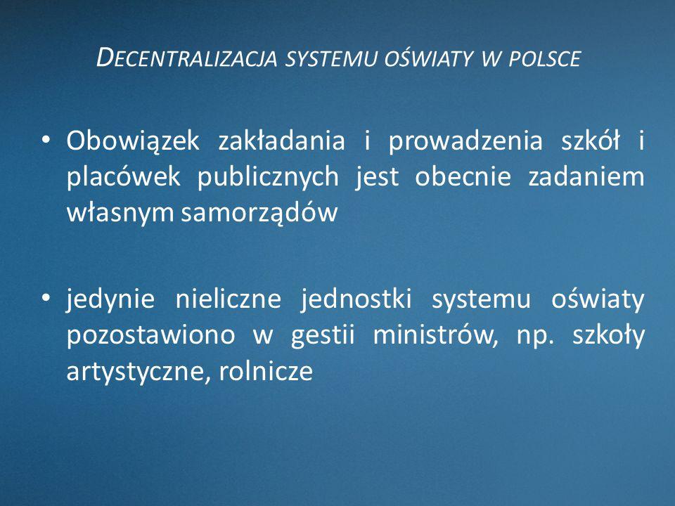 Decentralizacja systemu oświaty w polsce