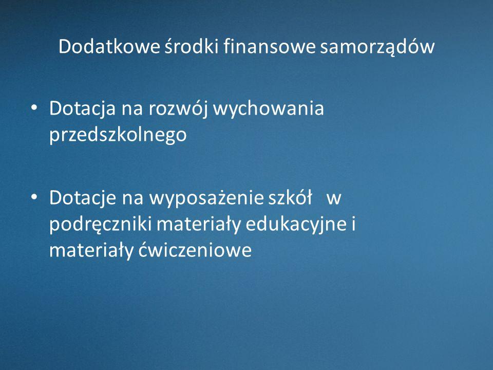 Dodatkowe środki finansowe samorządów