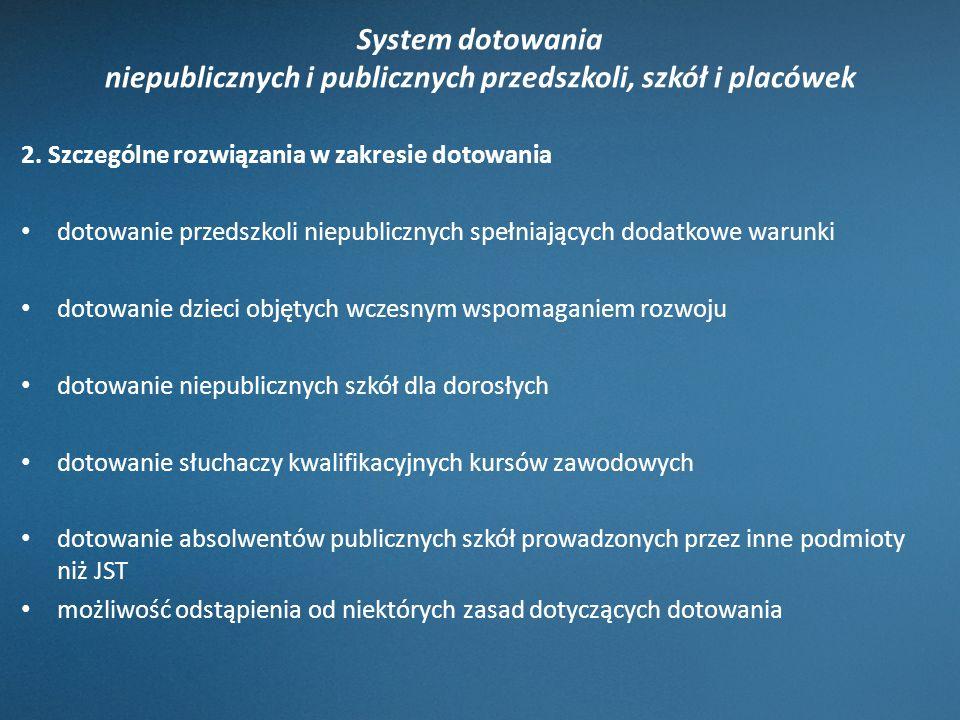 System dotowania niepublicznych i publicznych przedszkoli, szkół i placówek