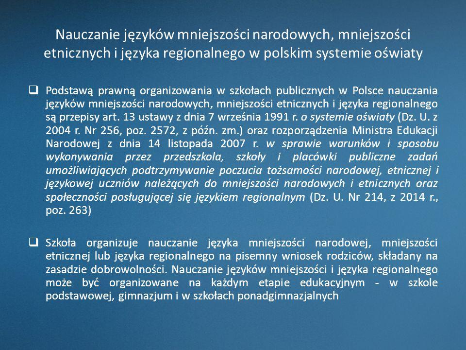 Nauczanie języków mniejszości narodowych, mniejszości etnicznych i języka regionalnego w polskim systemie oświaty