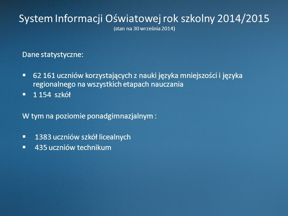 System Informacji Oświatowej rok szkolny 2014/2015 (stan na 30 września 2014)