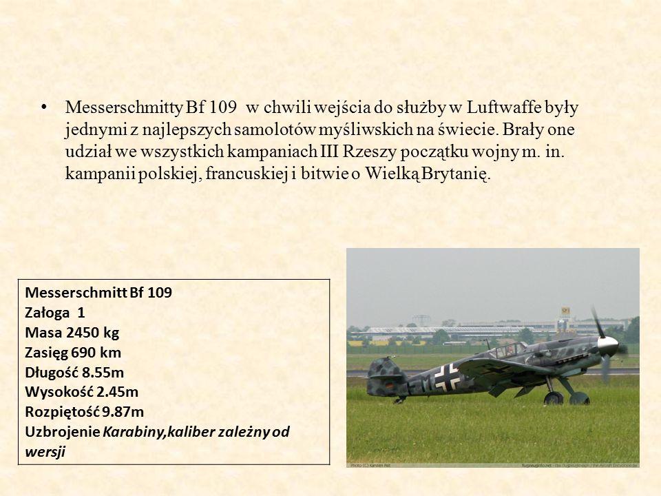 Messerschmitty Bf 109 w chwili wejścia do służby w Luftwaffe były jednymi z najlepszych samolotów myśliwskich na świecie. Brały one udział we wszystkich kampaniach III Rzeszy początku wojny m. in. kampanii polskiej, francuskiej i bitwie o Wielką Brytanię.