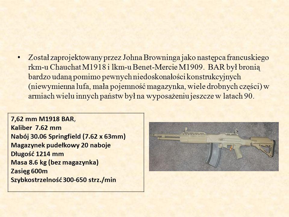 Został zaprojektowany przez Johna Browninga jako następca francuskiego rkm-u Chauchat M1918 i lkm-u Benet-Mercie M1909. BAR był bronią bardzo udaną pomimo pewnych niedoskonałości konstrukcyjnych (niewymienna lufa, mała pojemność magazynka, wiele drobnych części) w armiach wielu innych państw był na wyposażeniu jeszcze w latach 90.