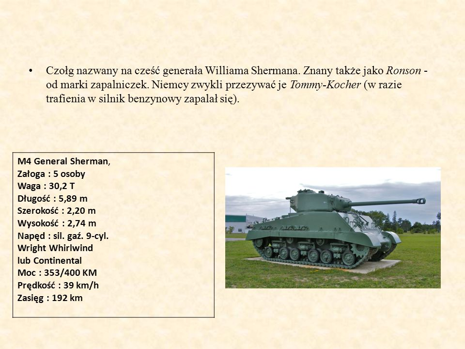 Czołg nazwany na cześć generała Williama Shermana