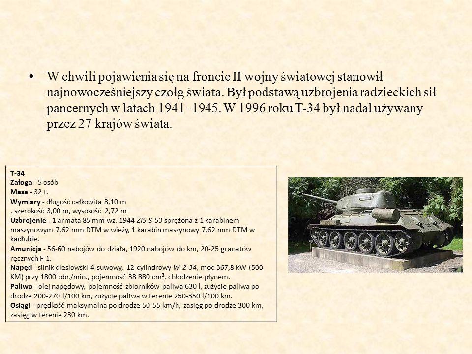 W chwili pojawienia się na froncie II wojny światowej stanowił najnowocześniejszy czołg świata. Był podstawą uzbrojenia radzieckich sił pancernych w latach 1941–1945. W 1996 roku T-34 był nadal używany przez 27 krajów świata.