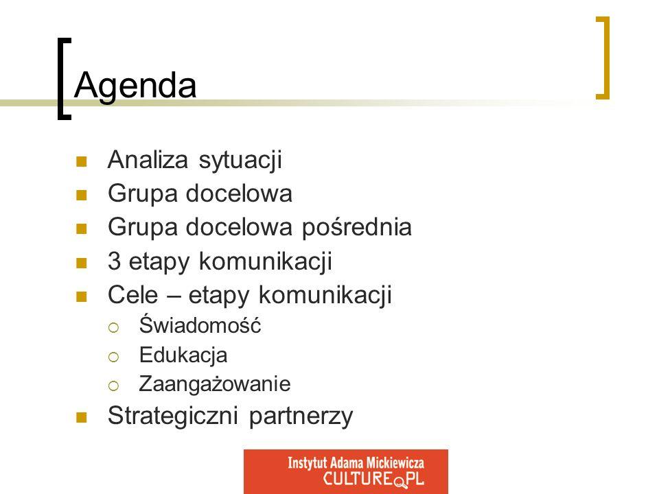 Agenda Analiza sytuacji Grupa docelowa Grupa docelowa pośrednia
