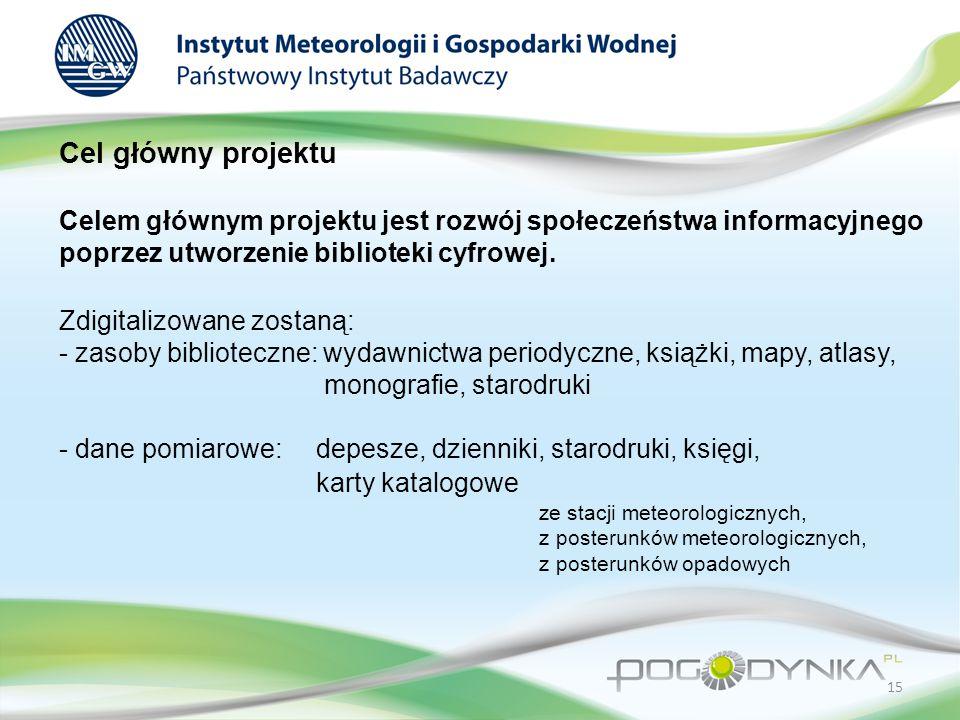 Cel główny projektu Celem głównym projektu jest rozwój społeczeństwa informacyjnego poprzez utworzenie biblioteki cyfrowej.