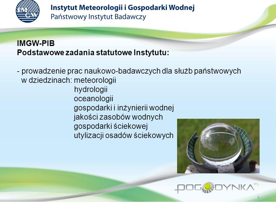 IMGW-PIB Podstawowe zadania statutowe Instytutu: - prowadzenie prac naukowo-badawczych dla służb państwowych w dziedzinach: meteorologii hydrologii oceanologii gospodarki i inżynierii wodnej jakości zasobów wodnych gospodarki ściekowej utylizacji osadów ściekowych