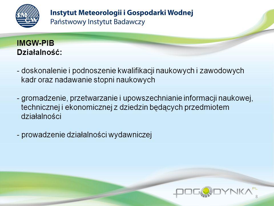 IMGW-PIB Działalność: - doskonalenie i podnoszenie kwalifikacji naukowych i zawodowych kadr oraz nadawanie stopni naukowych - gromadzenie, przetwarzanie i upowszechnianie informacji naukowej, technicznej i ekonomicznej z dziedzin będących przedmiotem działalności - prowadzenie działalności wydawniczej