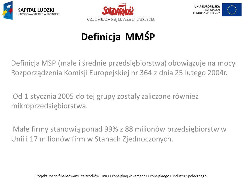 Definicja MMŚP Definicja MSP (małe i średnie przedsiębiorstwa) obowiązuje na mocy Rozporządzenia Komisji Europejskiej nr 364 z dnia 25 lutego 2004r.