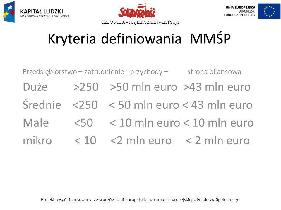 Kryteria definiowania MMŚP