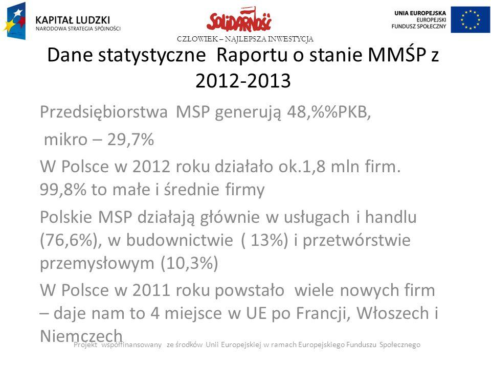 Dane statystyczne Raportu o stanie MMŚP z 2012-2013