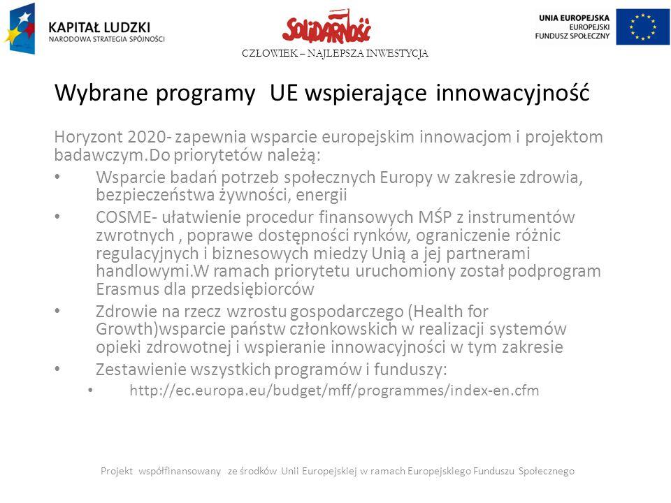 Wybrane programy UE wspierające innowacyjność