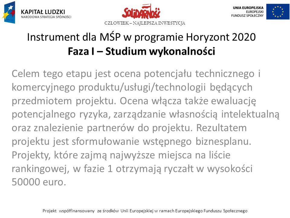 Instrument dla MŚP w programie Horyzont 2020 Faza I – Studium wykonalności