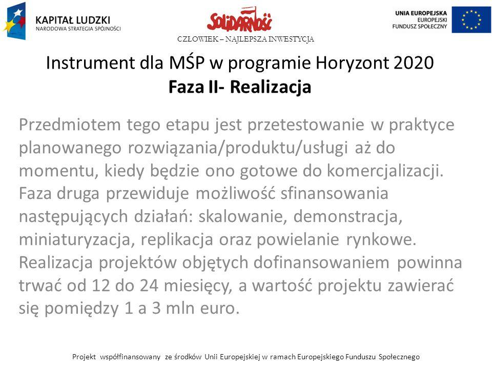 Instrument dla MŚP w programie Horyzont 2020 Faza II- Realizacja