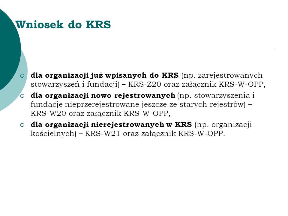Wniosek do KRS dla organizacji już wpisanych do KRS (np. zarejestrowanych stowarzyszeń i fundacji) – KRS-Z20 oraz załącznik KRS-W-OPP,