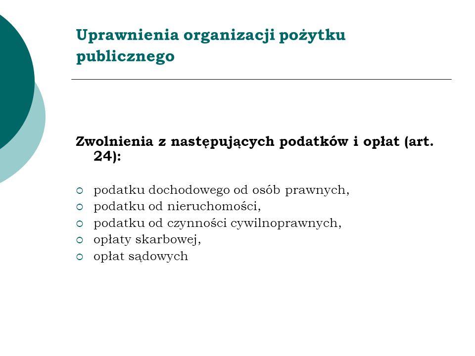 Uprawnienia organizacji pożytku publicznego
