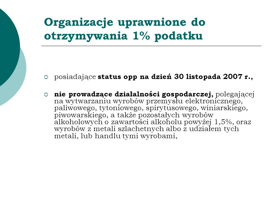 Organizacje uprawnione do otrzymywania 1% podatku