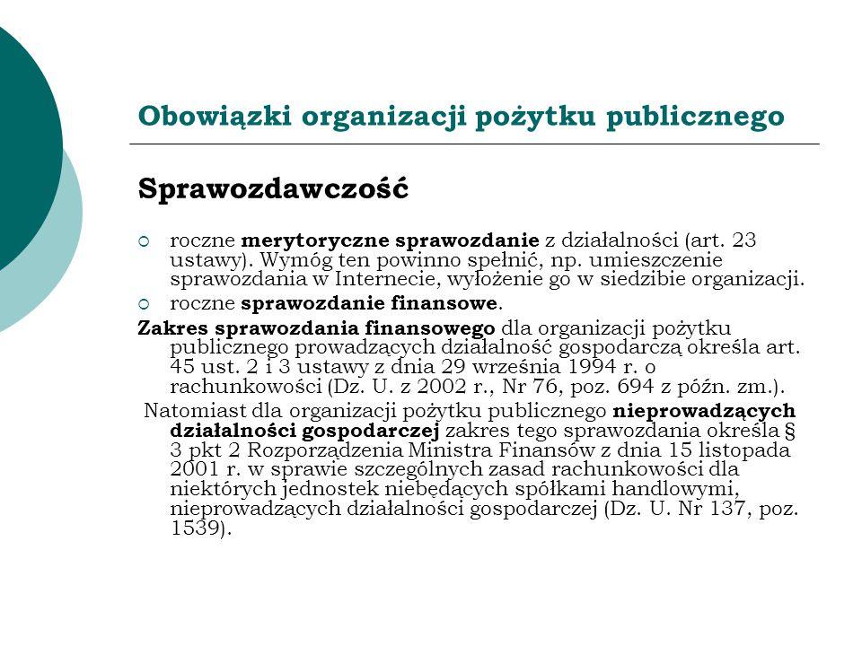 Obowiązki organizacji pożytku publicznego