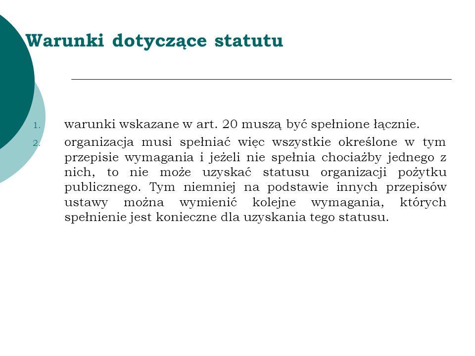Warunki dotyczące statutu
